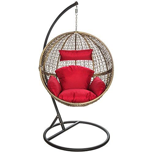 TecTake Poltrona amaca sospesa poltroncina a dondolo poly rotin sedia da giardino marrone