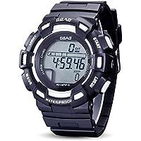 WENY Reloj Digital único de los Hombres Reloj de Pulsera Creativo Reloj Elegante Reloj Militar Vestido Reloj de Moda Reloj Deportivo (Color : Blanco)
