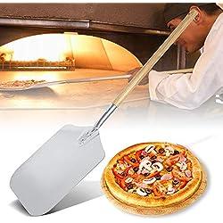 Pelle à Pizza avec Manche en Bois Pelle pour Four Pain en Alliage d'aluminium Pelle pour Four à Pizza Pelle à Pizza Rectangulaire Pelle pour Transférer Pizza Pain Gâteau Patisserie pour Cuisine