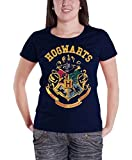 Harry Potter T Shirt Hogwarts Crest offiziell damen Nue Blau Skinny Fit