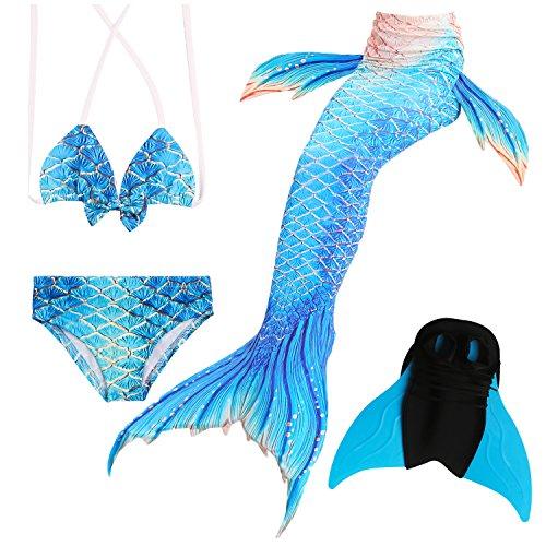 Das beste Mädchen Bikini Badeanzüge Schönere Meerjungfrauenschwanz Zum Schwimmen mit Meerjungfrau Flosse Schwimmen Kostüm Schwanzflosse - Ein Mädchentraum- Gr. 120, Farbe: A06(2) -