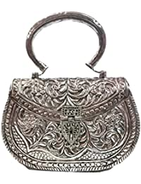 Hand Carving Clutches Vintage Handmade Brass Metal Purse Hand Clutch Handbag For Women Party Clutch
