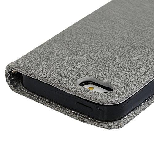 Mavis's Diary Étui iPhone 5/iPhone 5S/iPhone SE Coque en Cuir Café Housse Portefeuille Fente de Carte Étui à Rabat Fermeture Magnétique Flip Phone Case Cover+Chiffon gris