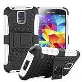 Wigento Hybrid Schutzhülle Outdoor 2 teilig aufstellbar Schwarz/Weiß für Samsung Galaxy S5 Neo SM G903F Tasche