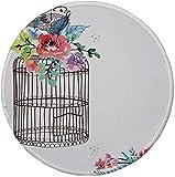 """Tappetino per mouse rotondo in gomma antiscivolo, acquerello, schizzo di un uccello su una gabbia vuota con fiori colorati Immagini di natura decorativa, marrone multicolore, 7.9""""x7.9""""x3MM"""