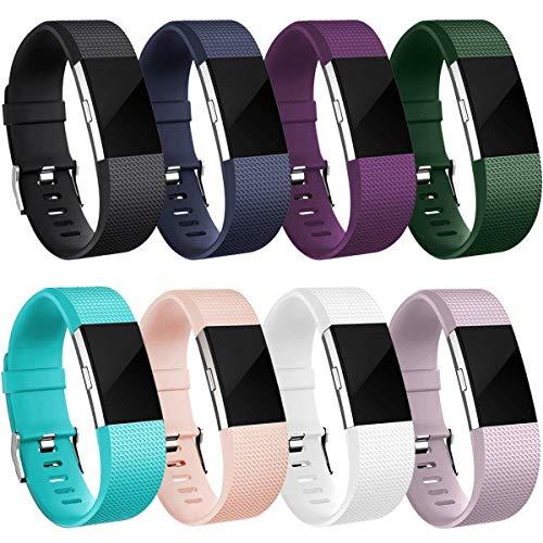 HUMENN Armband Für Fitbit Charge 2, Weich Silikon Sports Ersetzerband Fitness Verstellbares Uhrenarmband für Fitbit Charge2 Klein 8 Stück