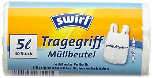 Swirl 4 sacchetti di immondizia pacchetto con manico, 5 litro, antibatterico, 40 pezzi per rullo, bianco