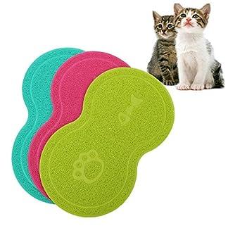 Cuteco Pet Food PVC Mat Waterproof Non-slip Pet Feeding Mat Pet Bowl Mat, Pet Feeding Tray For Cats and Dogs (blue) 20