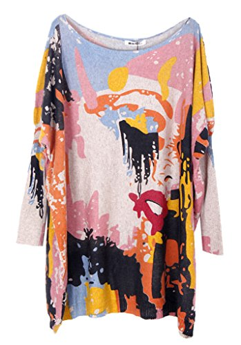 Bigood Pull Robe Femme Sweat-shirt Tricoté Sweat Grande Taille Col Rond Casual Amincissant Abricot
