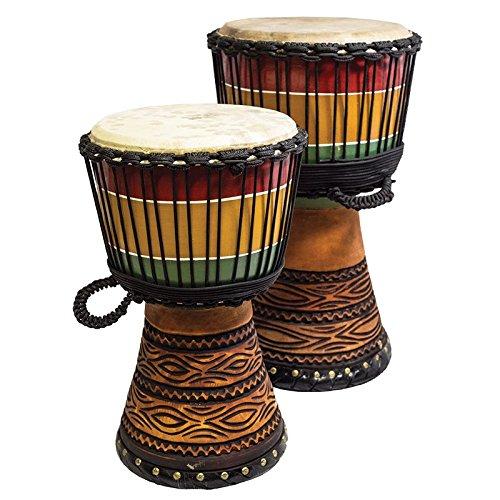 Djembe Meisterklasse Mali Style Rasta carv Höhe 60cm Holzkorpusdurchmesser 31-33 cm Ziegenhaut naturbelassen Schnitzerei Drum Weltmusik Percussion