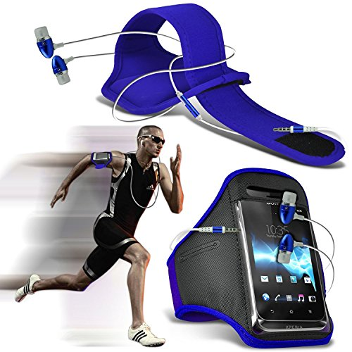 Acer Liquid Jade Z case Universal Car Phone Holder Mount Cradle Dashboard & Windshield for iPhone y i -Tronixs Armband + earphones (Blue)