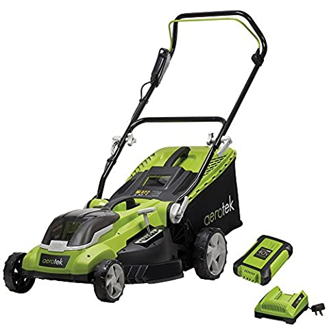 Aerotek Cordless Lawnmower 40V Lithium-Ion Battery & Charger Included Cutting