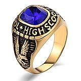 Aidsaer Silberring Antik Ring Männer Islam Blau Eagle Rechteck Blau Zirkonia Ringgröße 65 (20.7) Hochzeit Band,Promise You, Ring Für Vater