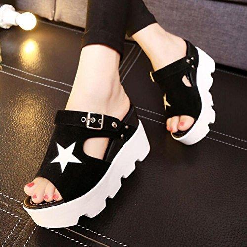 Bescita Frauen Fisch Mund Casual Schuhe Plattform Wedges Sommer Fünf-Sterne Sandalen Schuhe Schwarz