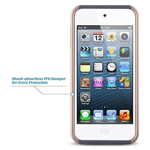Cover per iPod Touch 6 / 5, UlAK iPod Touch Cover ibrida rigida super protettiva con doppio strato in silicone per Apple iPod Touch 6th/5th Gen (Oro Rosa Stripes) Rose Gold + Gray
