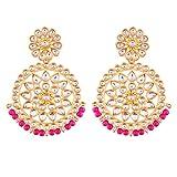 #10: I Jewels Gold Plated Kundan Chandbali Earrings for Women (E2462Q)