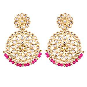 I Jewels Gold Plated Kundan Chandbali Earrings for Women (E2462Q)