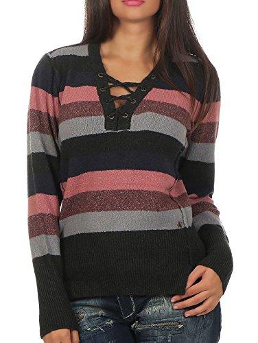 Khujo Damen Feinstrick Pullover Nayla 1160KN173 multi striped (C60) M (Pullover Multi-striped)