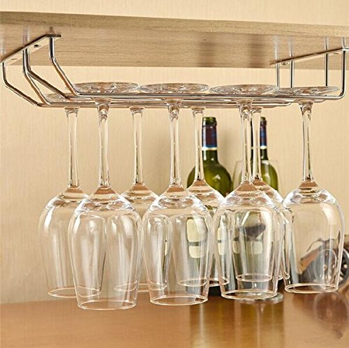 Impulse International Stainless Steel Wall Mouting Wine Glass Holder/Rack,(Double Line)