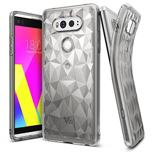 LG V20 Schutzhülle Ringke AIR PRISM 3D Design, ultra chic dünn schlang geometrisches Muster flexible Kompletthülle texturiert schützend TPU Fall geschützt Cover für das LG V20 - Rauchschwarz