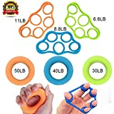 #5: KACOOL Finger Stretcher, Hand Strengthener, Exerciser Strength Trainer Forearm Grip Workout -6 Pieces