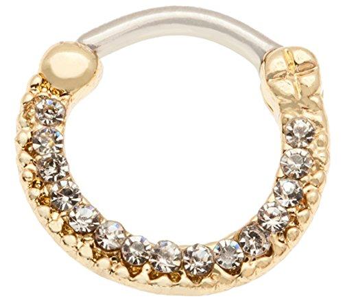 VAGA 316L Chirurgenstahl Nasenring Nasenpiercing Ring Goldener Piercing Klare Kristalle