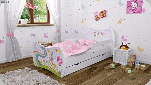 Kinderbett-Weiss-mit-Matratze-Bettkasten-und-Lattenrost-verschiedene-Motive-DM-Einhorn-180x90
