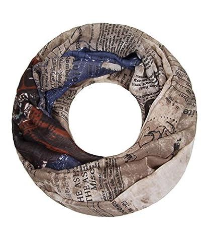 Majea NEUE Saison Damen Loop Schal viele Farben Muster Schlauchschal Halstuch in aktuellen Trendfarben (beige 8)