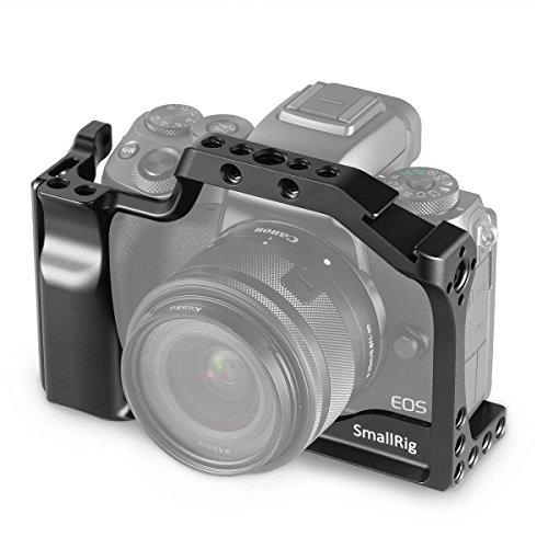 SMALLRIG Cage für Canon EOS M50 und M5 mit Integriertem Griff und Schnellverschluss NATO Rail - 2168 (Cage Griff)