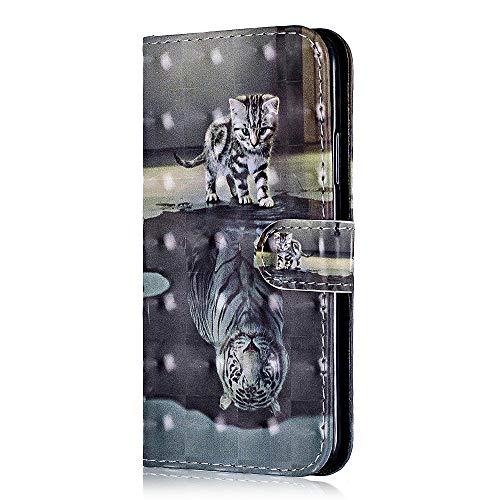 Sony Xperia XZ2 Mini/Compact Hülle, Bear Village® 3D Stil Anti-Scratch Leder Hülle für Sony Xperia XZ2 Mini/Compact, Premium Multi-funktion Ständer Schutzhülle mit Kartenfach (#3 Tiger Katze) -