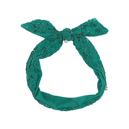My Dream Day Kopfband Leichte, Schnelltrocknende Multipurpose Haarband Haarschmuck Super süße Fee Spitze Kabel Kreuz Multipurpose Haarband, Schaum Sommer dunkel grünen Kabel Multipurpose Haar Band