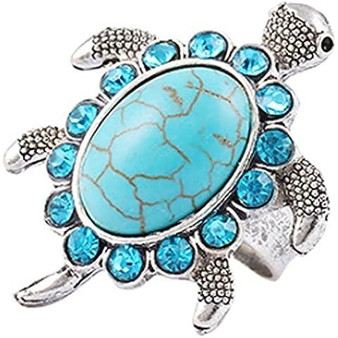 SaySure–Plata tibetana Azul Turquesa Gem Rhinestone Ring Jewelry
