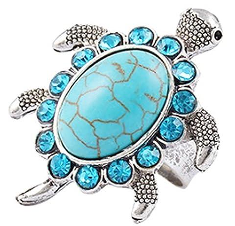 SaySure - Tibetan silver Blue turquoise gem rhinestone Ring jewelry