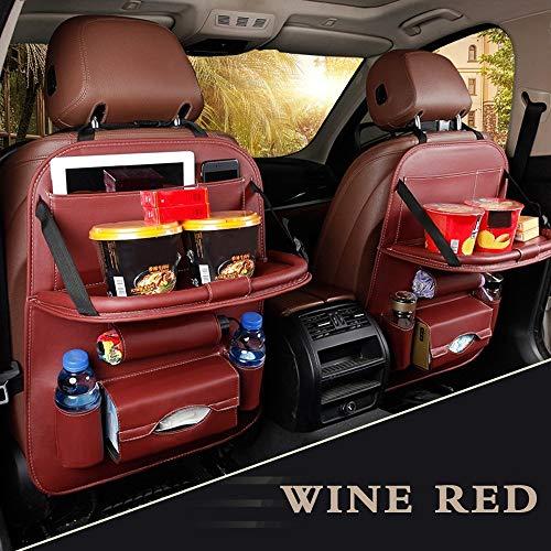 Wencaimd Auto Rücksitz Organizer PU Leder Auto Rücksitzkissen für Kinder(Weinrot) zum Autos Autos Kraftfahrzeuge - Cabrio Kind Autositz