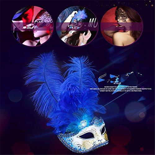 ei Maske weibliche Hälfte Gesicht Make-up Kugel Prinzessin Mask Fun Sexy Feder Maske, blau, B (Hälfte Und Die Hälfte Halloween-make-up)