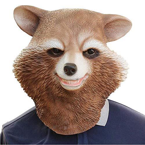 Rwdacfs Masken für Erwachsene,Halloween Maske Waschbär tragen Haube Helm (Maske Halloween Waschbär)