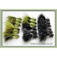 18 Goldhead Flash Damsels Trout Fishing Flies - Size 10, Black & Olive
