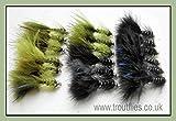 Angelfliegen, 18 Stück Demoisellen mit goldenem Kopf, Forellenangeln-Größe 10, Schwarz &...