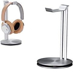 Headphone Stand Holder, LEEGOAL Aluminum Metal Desk Headset Holder Earphone Hanger Mount with Stand and Cable Organizer for All Over-Ear Headphones (Sliver)