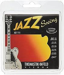 Thomastik 676717 Saiten für E-Gitarre Jazz Swing Series Nickel Flat Wound, Satz JS111 Light .011-.047w