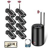 Kit de Surveillance sans Fil, Système de Sécurité pour la Maison, 8pcs HD 1080p WiFi Caméras ANRAN, WiFi Vidéo Caméra, Vision Nocturne, l'Appairage Auto, Accès à Distance Gratuit, 2TB Disque Dur