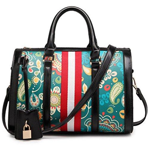 GSHGA Neue Damen Handtaschen Schultertasche Totes Diagonal Paket Baguettes Bowling Taschen Top-Griff Taschen,Black