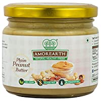 AMOREARTH All Natural Unsweetened Plain Peanut Butter (No Artificial Sugar, No Artificial Colour, No Added Preservatives, Vegan) - 500 Gm