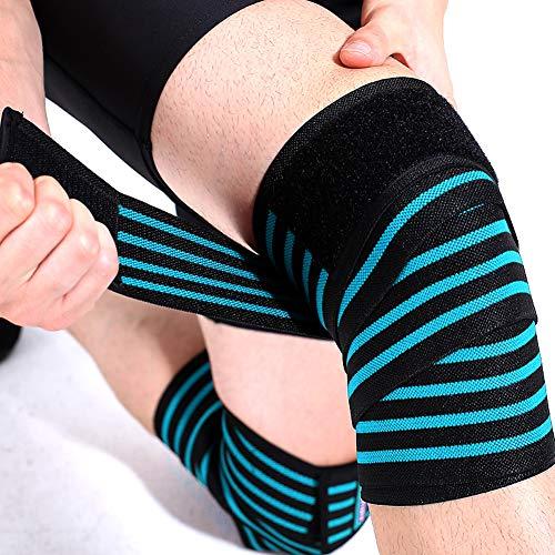 LXYQH Squat Knieschoner Elastische Bandage Wrap Around Knieschoner Trainingsgurt Fitness Gewichtheben Gamaschen,Blue,180x8cm -