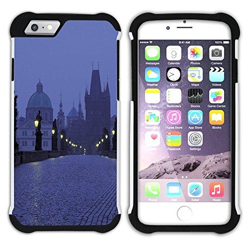 Graphic4You Prag Tschechische Republik Postkarte Aussicht Hart + Weiche Kratzfeste Hülle Case Schale Tasche Schutzhülle für Apple iPhone 6 Plus / 6S Plus Design #30
