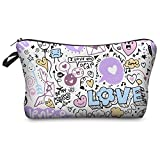 Bolsa de maquillaje Fringoo® para mujeres, pequeña bolsa organizadora de cosméticos, diseño divertido con estampado de unicornio Doddle Love - Make Up Bag 8 cm