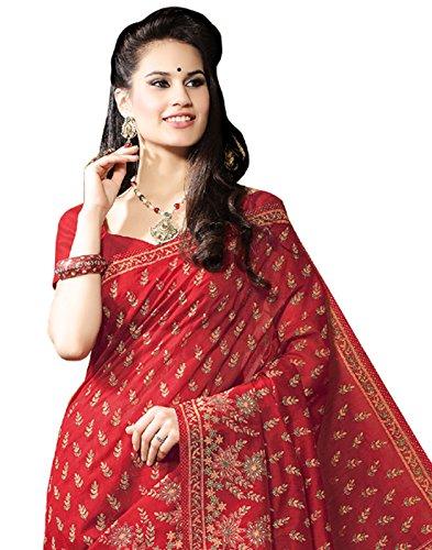 Roopkala Silks & Sarees Women's Cotton Saree With Blouse Piece(Bp-118_Maroon_Free Size)
