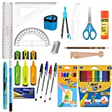 Blumie Shop Pack Eco Fournitures Scolaires 21 pièces spécial collège - Bleu + 1 Règle Marque-Page en Bois