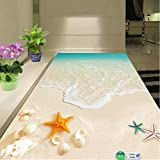 Carta da parati 3D personalizzata per pavimenti Impermeabile per bagno Bella vista sul mare Onde della spiaggia Shell Starfish Adesivo murale Carte da parati antiscivolo