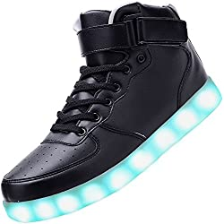 Padgene® Mujeres Hombres Zapatillas de Luces LED UP de Alta Top Intermitente Instructores Carga USB Parejas Zapatos con Cordones
